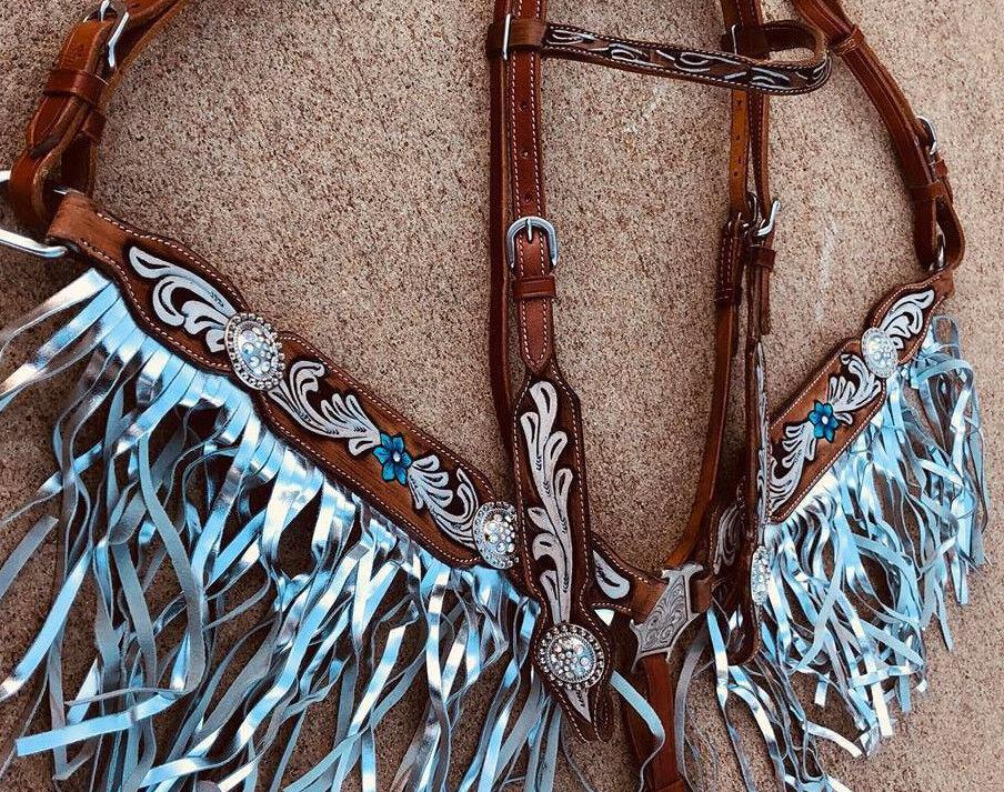 Caballo Occidental Bling  Cuero Tachuela Set Brida  Cabezada + pecho Collar con flecos  70% de descuento