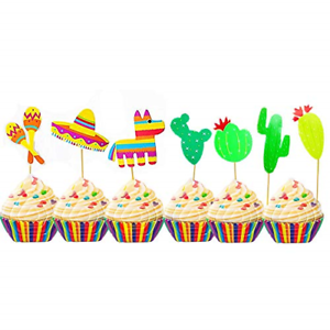 Mexican Cupcake Toppers Fiesta Party Cake Picks Decoration ...