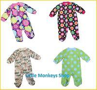 BABY BOY/GIRL FLEECE SLEEPSUIT/BABYGROW VARIOUS DESIGNS NB 0-3 3-6 6-9MTHS