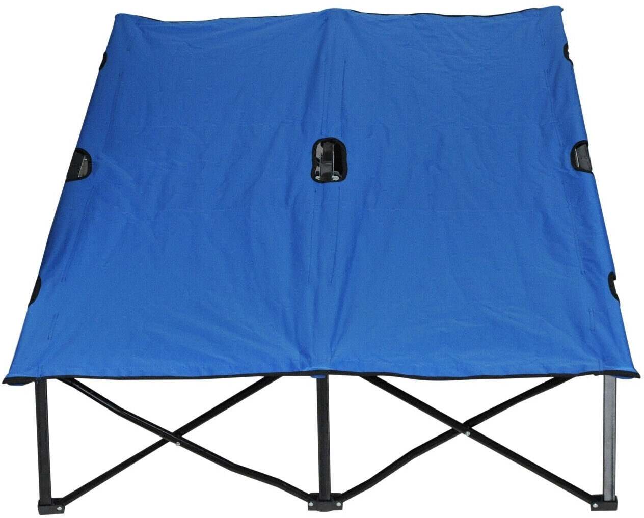 Two Person Camping Cot Double Wide Folding Bed Elevated azul 440 Lb Capacity