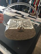 Vintage Silver Glitter Confetti Carved Lucite Box Purse Embellished Top 1950s