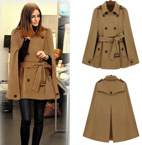 Casual Womens Cape Batwing Wool Poncho Belted Jacket Lady Winter Warm Cloak Coat