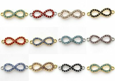 10pcs Crystal Rhinestone Paved Metal Infinity Symbol Connectors Charms Jewelry