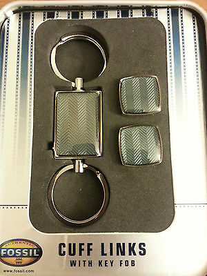 Fossil, Men's Cuff Links with Key FOB, Herringbone Pattern