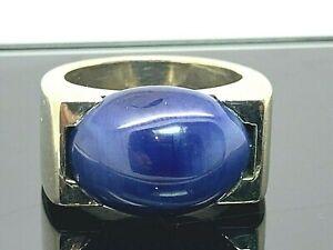 Blue-Star-Sapphire-Statement-Ring-14k-White-Gold-18-2g-Estate-Jewelry-Size-7-5