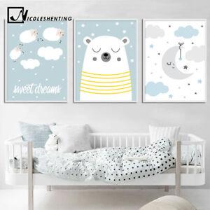 Cartoon Bear Wall Art Canvas Poster Nursery Quotes Print Baby Boys Bedroom Decor