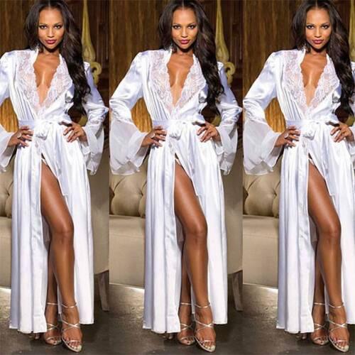 Women Lace Satin Silk Nightdress Bathrobe Lingerie Sleepwear Robe Nightie Gown