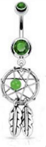 Piercing Nombril Attrape rêve cristal vert tige acier chirurgical