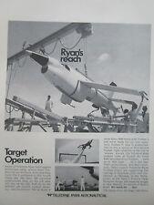 4/1970 PUB TELEDYNE RYAN AERONAUTICAL FIREBEE II TARGET CIBLE ORIGINAL AD