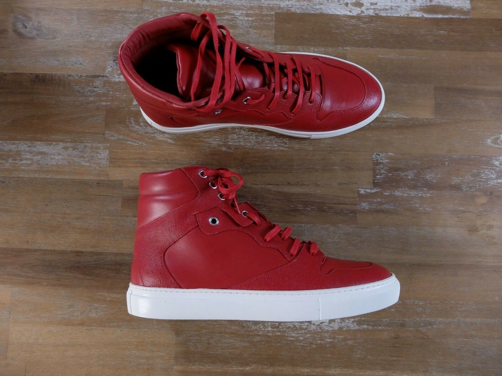 BALENCIAGA high sneakers leather red mens authentic Size 8 US / 41 EU / 7 UK