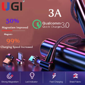 3A-Magnetic-Fast-Charging-Charger-Cable-Micro-USB-Type-C-For-Samsung-S8-S9-S10
