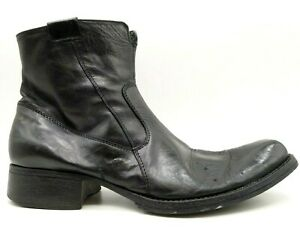 aldo black leather dress casual zip up ankle boots shoes