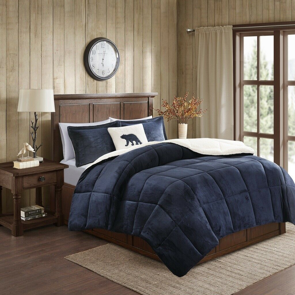 NEW Navy Taupe Ivory Plush reverse Sherpa Down Alt 4 pcs Comforter King Queen