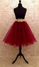 """Dark Red Circle Tulle Skirt 24"""" Length Rockabilly Sizes Party Mesh 50s Colours"""