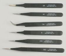 Quality set 6 tweezers black epoxy coated watchmakers jewellers 00 3C 2A 5 7 SS