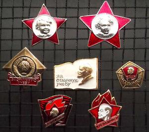 Pioneer  Lenin USSR Soviet pin badges Octobrist young Lenin communist part