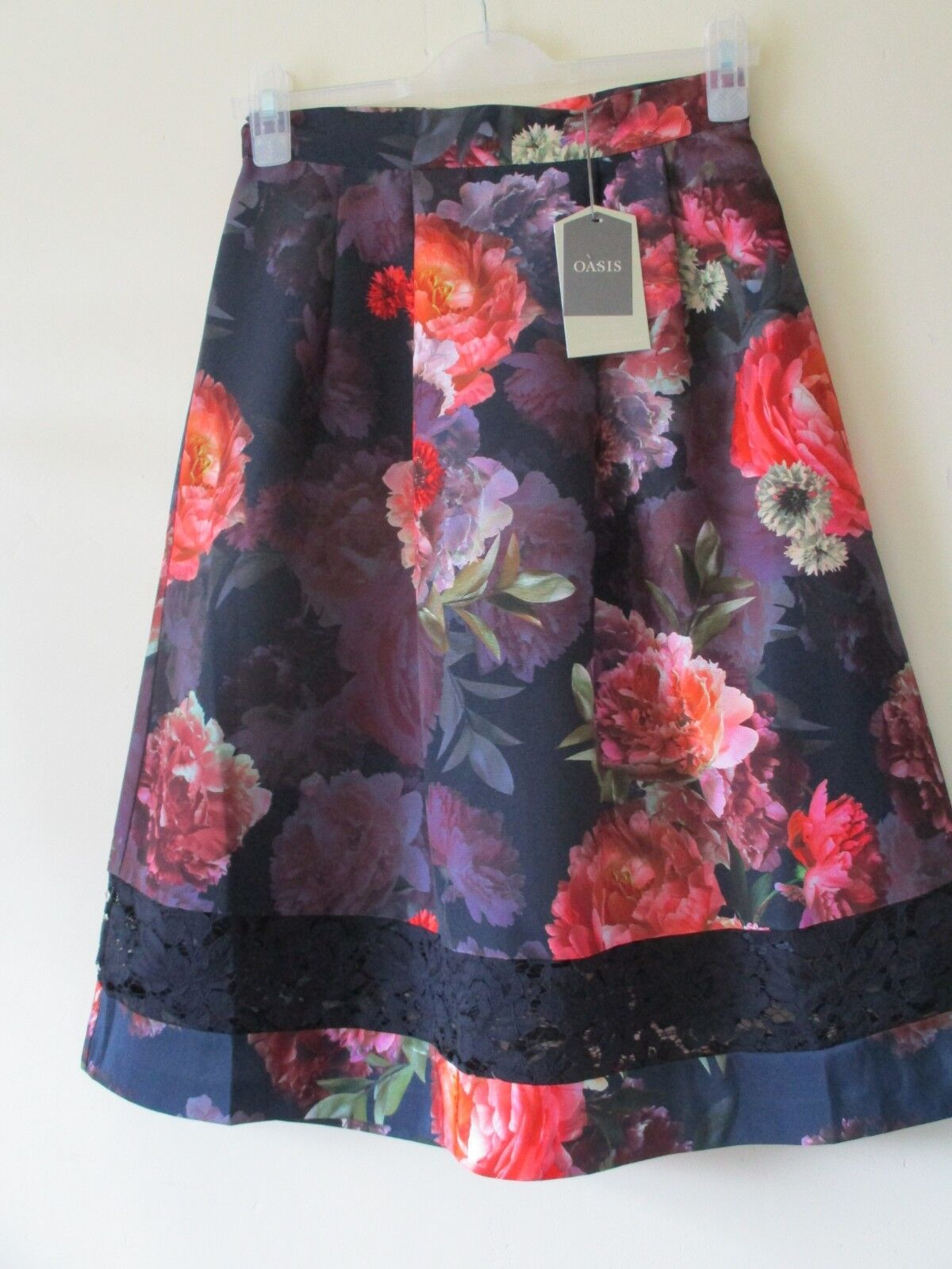 OASIS SKIRT Floral MIDI Navy bluee Flowers Coral Purple LACE 1950s Retro Sz 8 NEW