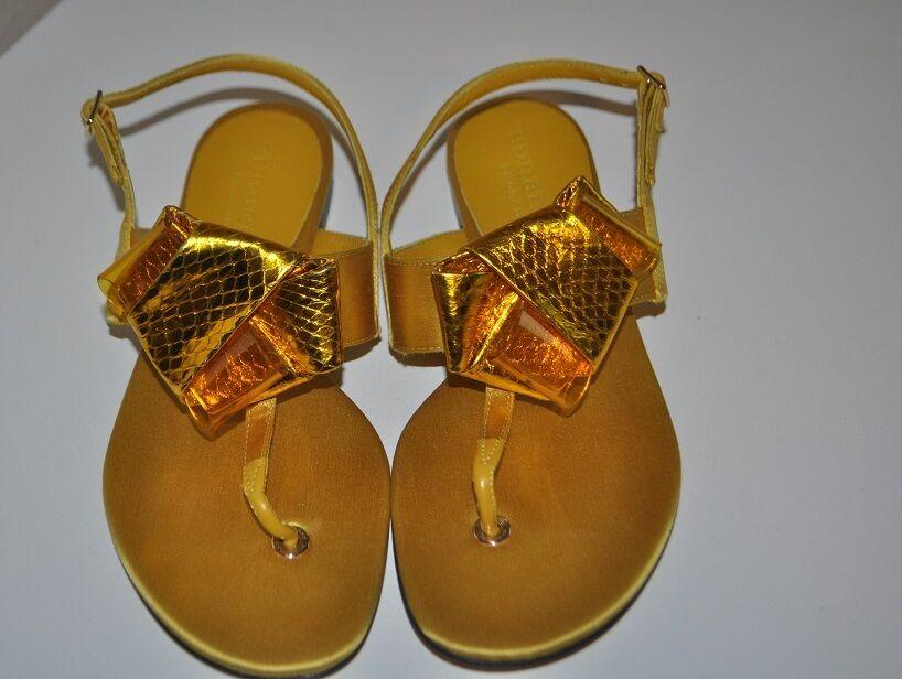 New $495+ BURBERRY PRORSUM Flat Sandal Shoes Satin & Leather Sz 37  YELLOW IRIS