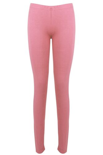 Womens Ladies Plain Elastic Trousers Full Ankle Length Stretch Jeggings Leggings