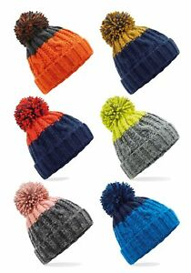 ORANGE GREY YELLOW BLUE or BLACK Warm Knitted Woolly Ski Beanie Hat Thinsulate™