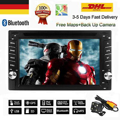 "6.2"" Doppel 2Din Autoradio DVD GPS Navigation MP5 Player Touch Bluetooth USB AUX"