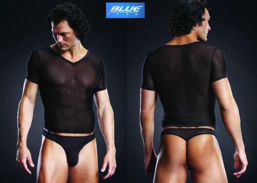 BLUELINE 664 V Neck Tee Shirt SOTTO CAMICIA MICRO MESH NERO IN S M L XL S//M//L//XL