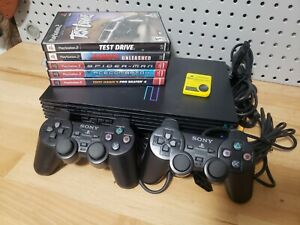 Playstation-2-PS2-Fat-Black-Console-Bundle-w-2-Controllers-5-Games-Memory-Card