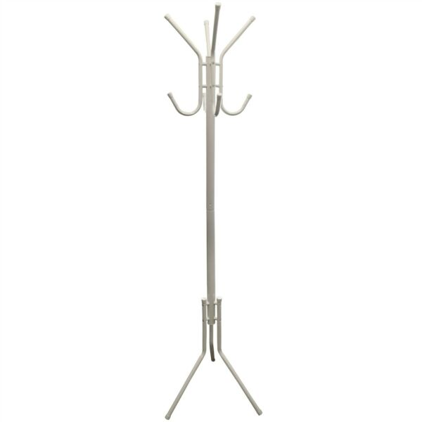 8 Hook Hat And Coat Stand Clothes Hanger Furniture Freestanding Jacket White
