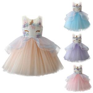 fa382d5a0f9e Image is loading Girl-Unicorn-Mesh-Tutu-Dress-Fairy-Princess-Birthday-