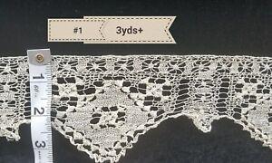 3yds-Antique-Net-Lace-Trim-Darned-Primitive-Fragment-Flounce-Sewing-Costumes-A22