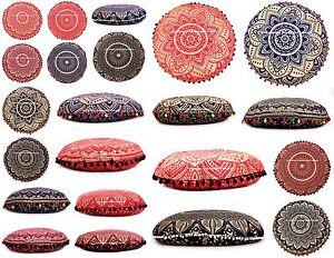 Mandala Indien Sol Oreillers Rond Boho Méditation Coussin Housse Ottomane Pouf