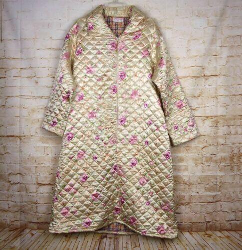 Vintage 1950s-60s Satin Quilted Half Zip Nightgown