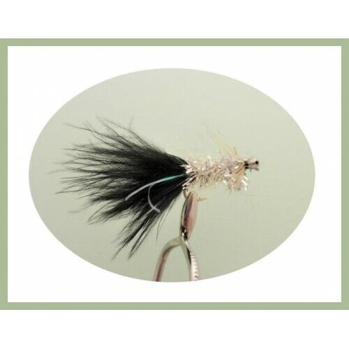 Humongous Trout Flies Lures 6 Pack Black /& Silver Size 10 Fishing Flies