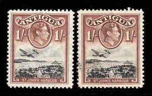 Antigua-1938-KGVI-1-Noir-et-Rouge-Brun-Sg-105a-Excellent-Etat
