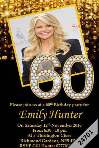 10 x Personalised 16th 18th 21st 30th 40th 50th 60th 65th Birthday Invites 24201