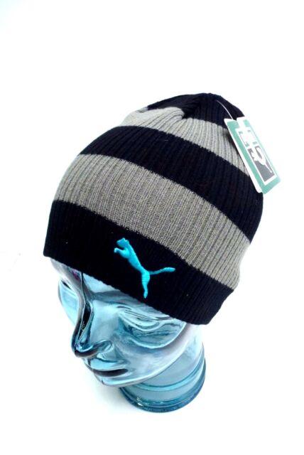 PUMA Youth s Beanie  Winter Sport Striped Knit Hat  Black Gray  One Size f96745365aa