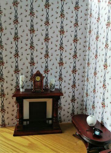 Dolls House Wallpaper 180gsm Matte Photo Paper 1//12th Floral Stripe Portrait