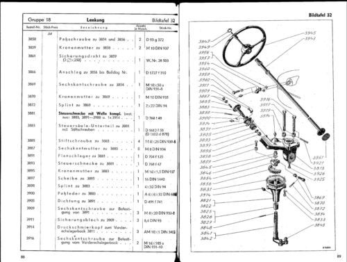 Ersatzteilliste Lanz Bulldog D5506 16PS Seitenglühkopf BA15160 Ausg 01//1952