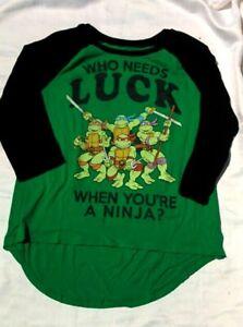 Classic TMNT Cartoon NINJA TURTLES Who Needs Luck Ninja ST PATRICKS 3/4 Sleeve
