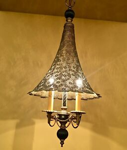Details About Vintage Lighting Antique 1950s Hollywood Regency Chandelier Wow Br Shade