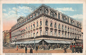 Main-Street-and-Fairfield-Ave-Bridgeport-Connecticut-Early-Postcard-used