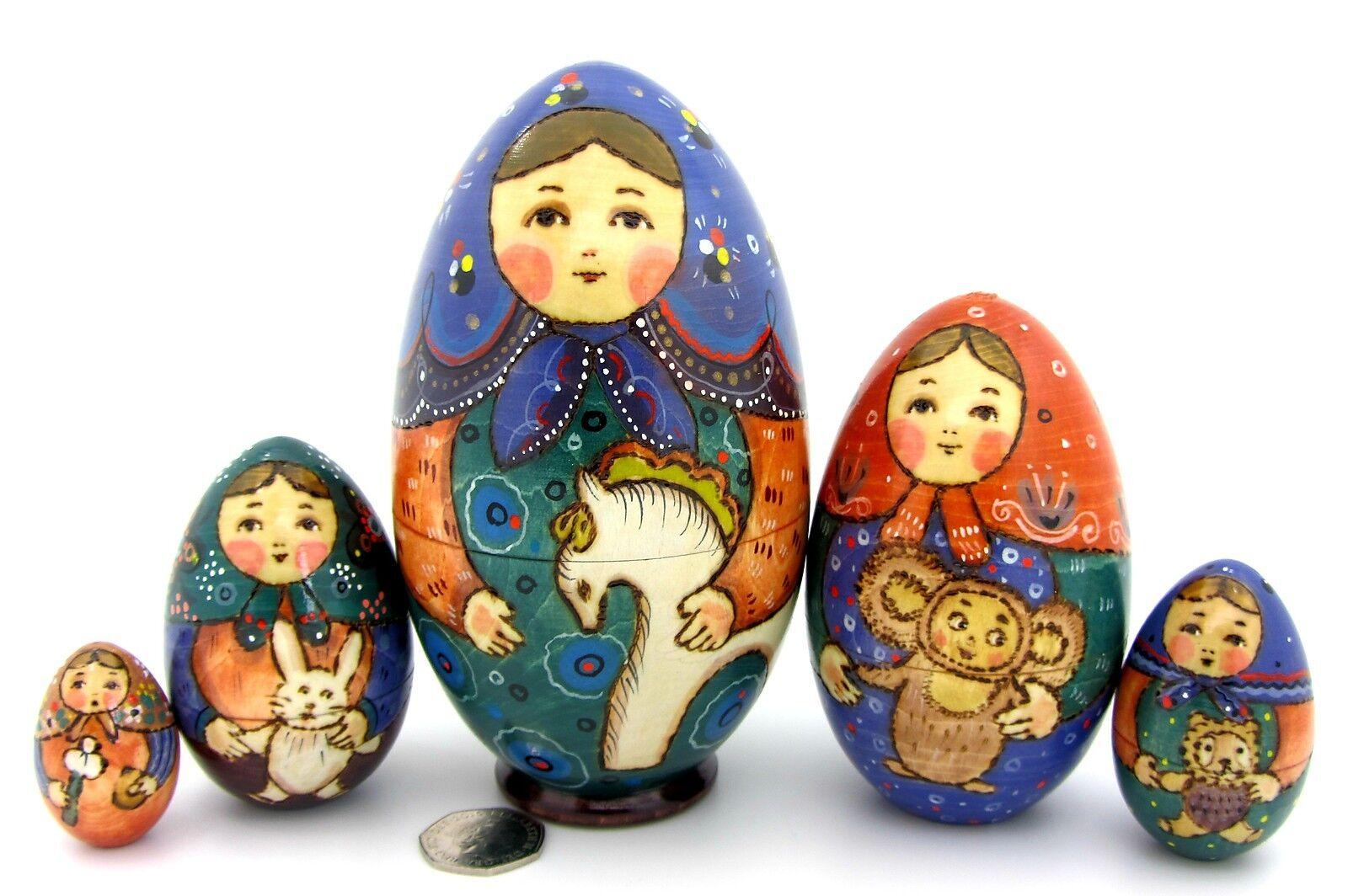 Muñecas-caja Rusas Matrioska Babushka 5 Pintado a mano Huevo TEDDY juguetes