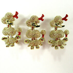 3-French-Poodle-Scatter-Pins-Gold-Tone-with-Enamel-Dogs-Vintage