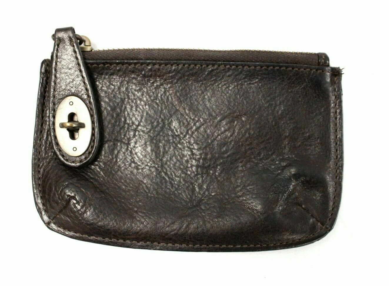 Lovely Authentic Muberry Vintage Dark Chocolate Brown Leather Coin Pouch Purse