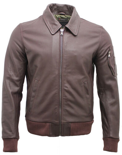 uomo Us pelle in Airforce pelle in analine antracite Bomber vintage bovina color 7ZvzBvwx