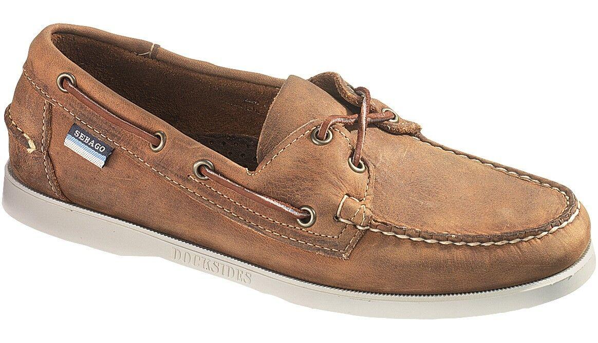 Sesaco Docksides Mocassin Chaussures Bateau Homme B72652 Marron   Blanc Neuf