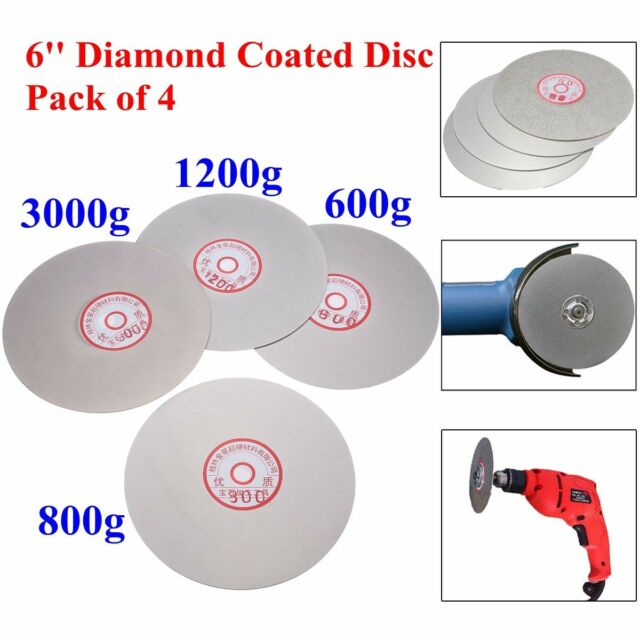 4pcs 6'' Diamond Flat Lap Wheel Lapping Grinding Disc 600# 800# 1200# 3000# Grit