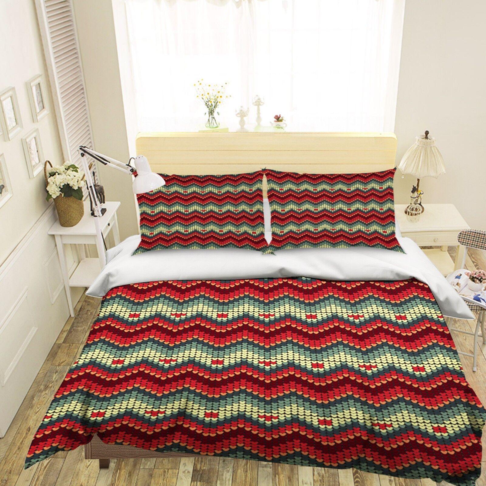 3D Christmas Xmas Stripe 7 Bett Pillowcases Quilt Duvet Startseite Set Single Königin AU