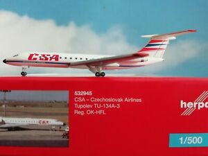 1-500-Herpa-Wings-532945-CSA-Czechoslovak-Airlines-Tupolev-TU-134A