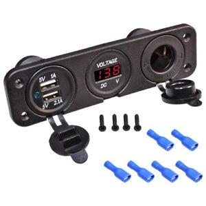 Auto-KFZ-Zigarettenanzunder-Einbau-Steckdose-Ladegerat-2x-USB-LED-Voltmeter